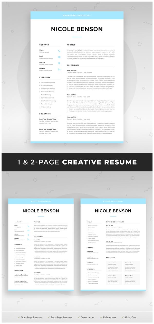 Creative Resume Template Modern Cv Design For Word Instant Etsy Creative Resume Templates Creative Cv Template One Page Resume Template