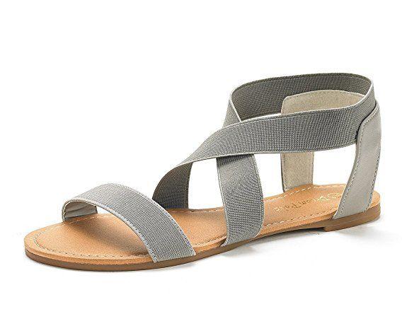 6e29baf7e9bf DREAM PAIRS Women s ELATICA-6 Grey Elastic Ankle Strap Flat Sandals - 8 M US