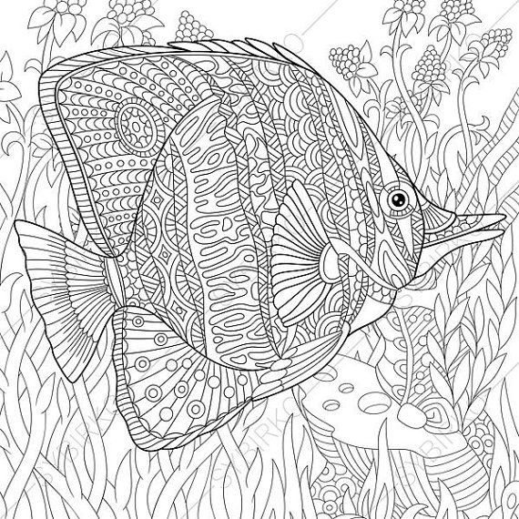 Adult Coloring Pages Butterflyfish Zentangle Doodle Coloring Pages