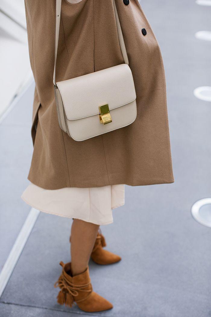 6d60fcb2ee aimee song of style beige celine box bag camel coat schutz fringe boots  Celine Classic Box