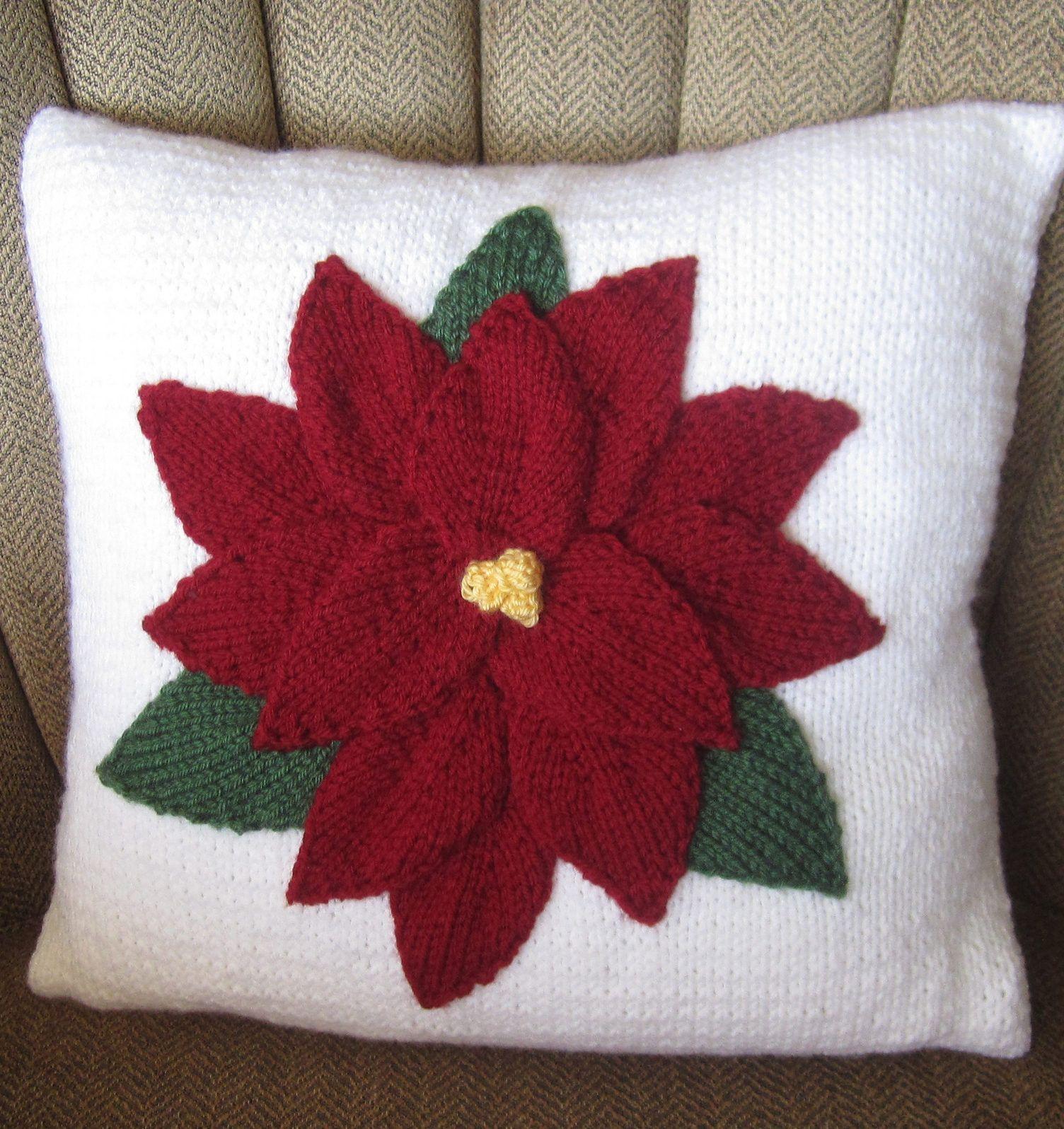 Knitting pattern for poinsettia pillow uxu poinsettia pillow