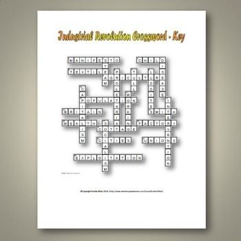 Industrial Revolution Crossword Puzzle And Key 22 Terms And