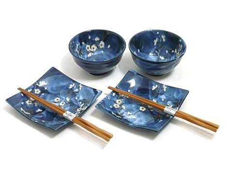 Indigo Deam Cherry Blossom Plate and Bowl Set for Two  sc 1 st  Pinterest & Indigo Deam Cherry Blossom Plate and Bowl Set for Two | Needful ...