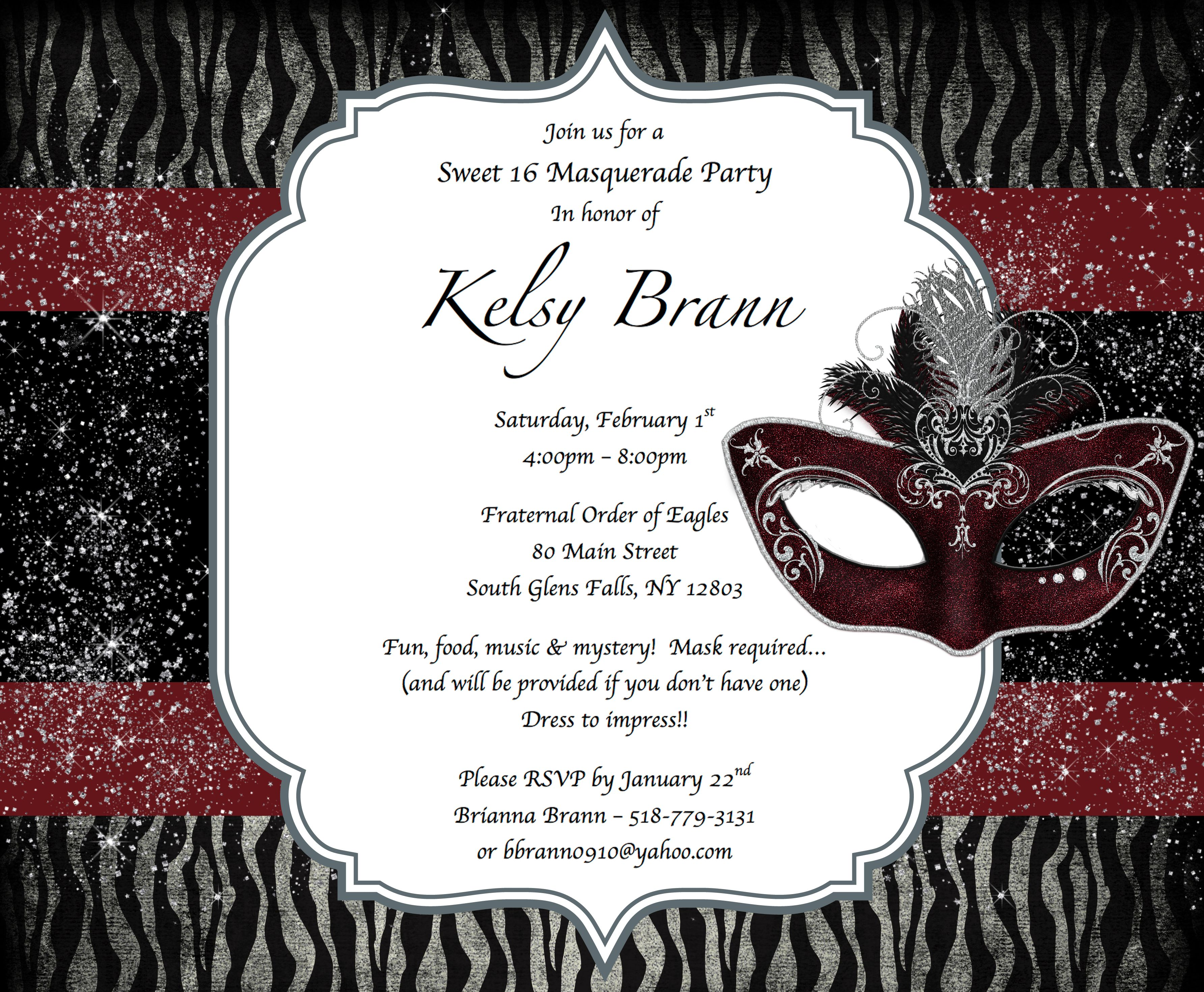 sweet 16 masquerade party invitations kelsys sweet 16