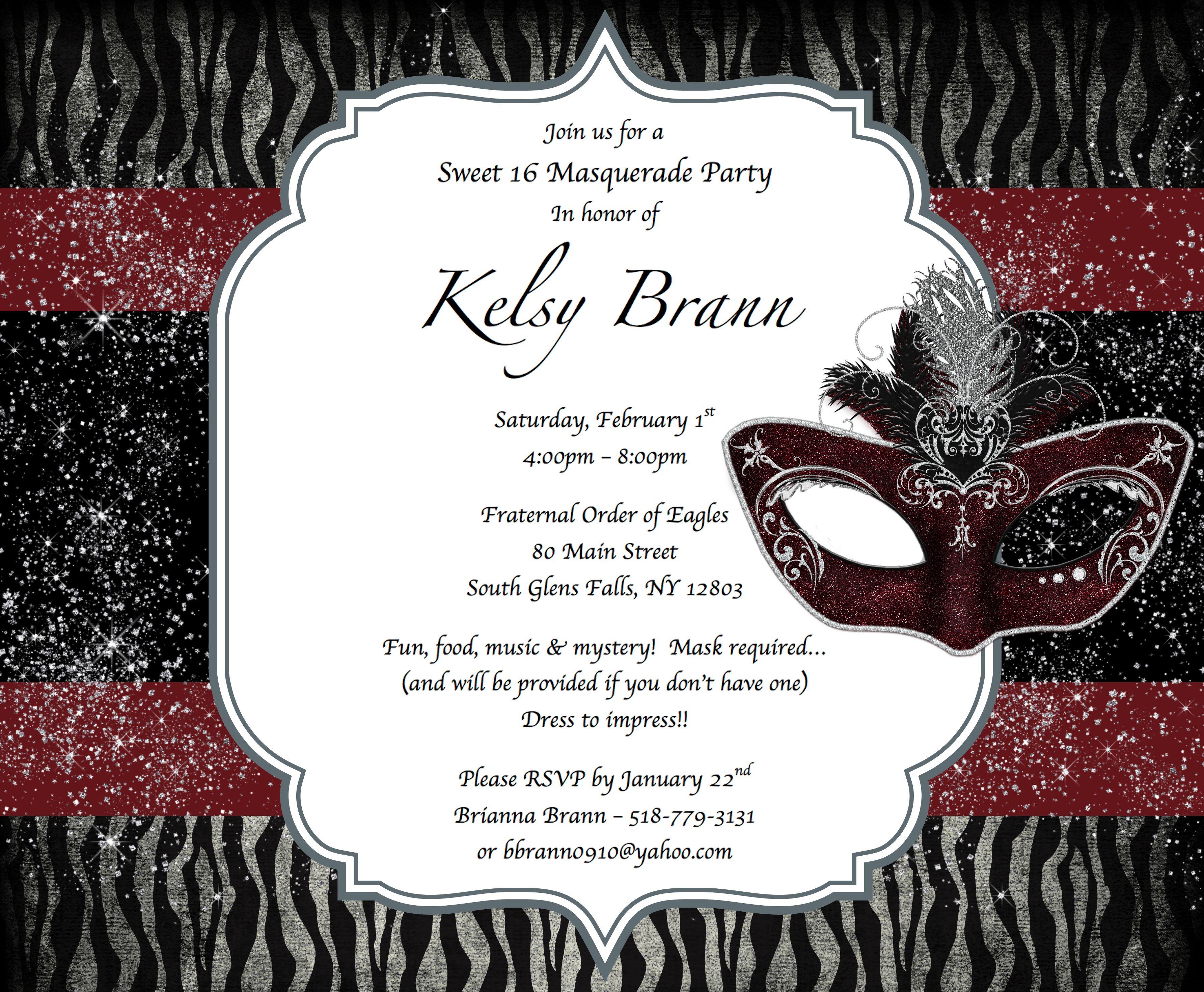 Sweet 16 masquerade party invitations | Kelsy\'s Sweet 16 Masquerade ...