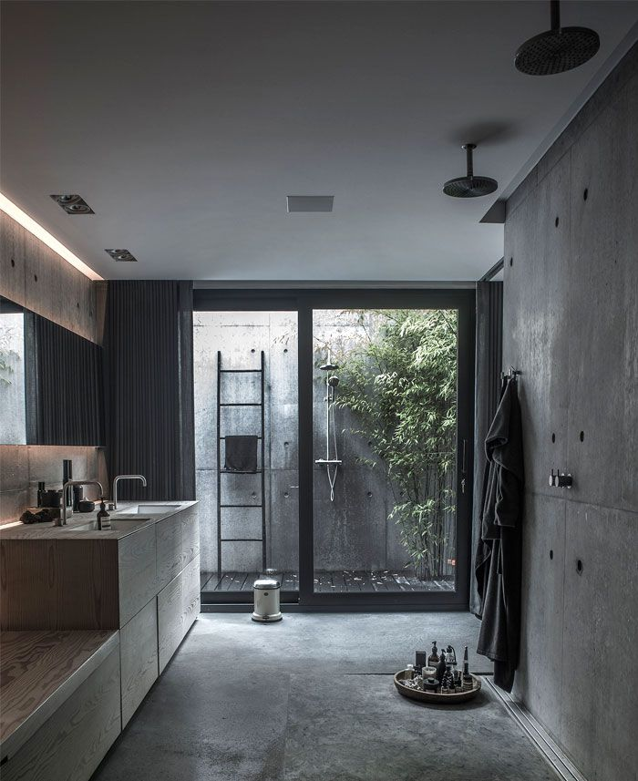 Maison moderne scandinave sur 4 niveaux Couture, Baños y Me gustas - Salle De Bain Moderne Grise
