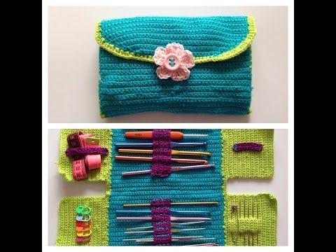 DIY Learn How to Crochet Hook Case Holder Folder Wallet - Pouch Storage for Hooks - YouTube #crochethooks