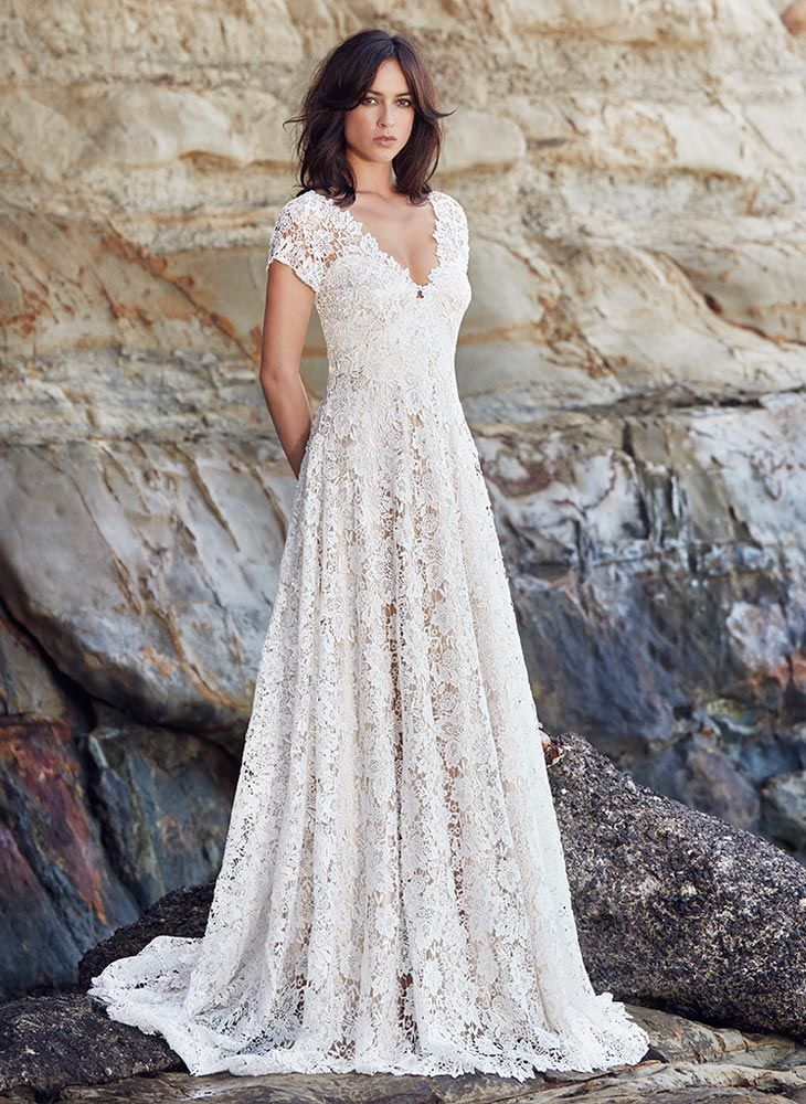 Boho lace wedding dress with flared skirt and v-neckline, full front ...