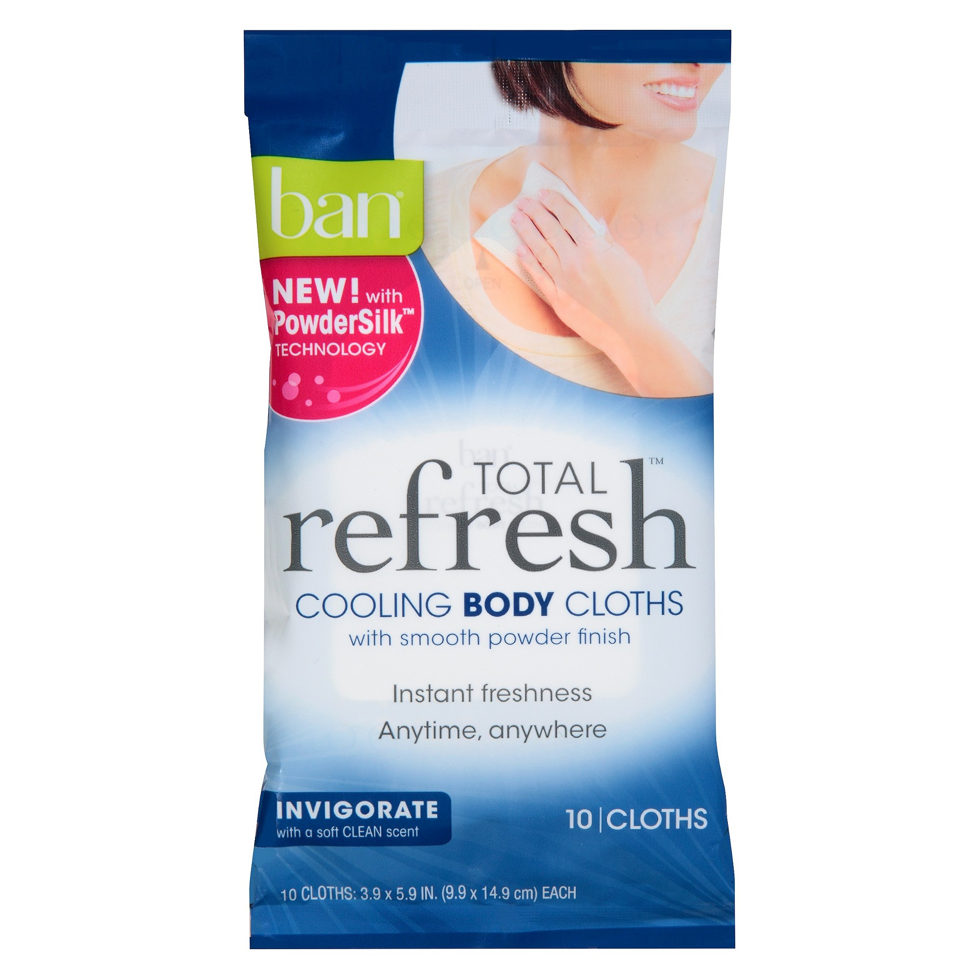 Ban Total Refresh Cooling Body Cloths Trial Size 10ct Beauty