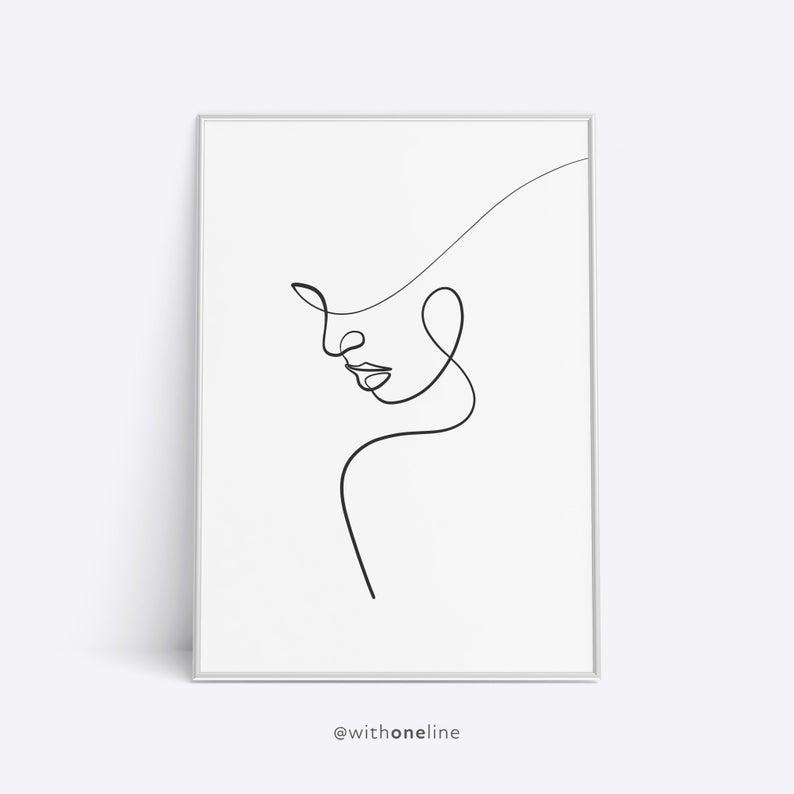 Downloadable Woman Art, Line Art Print, Printable Wall Art, Digital Art Print, Modern Wall Art, Abstract Line Drawing, Female Nude Art