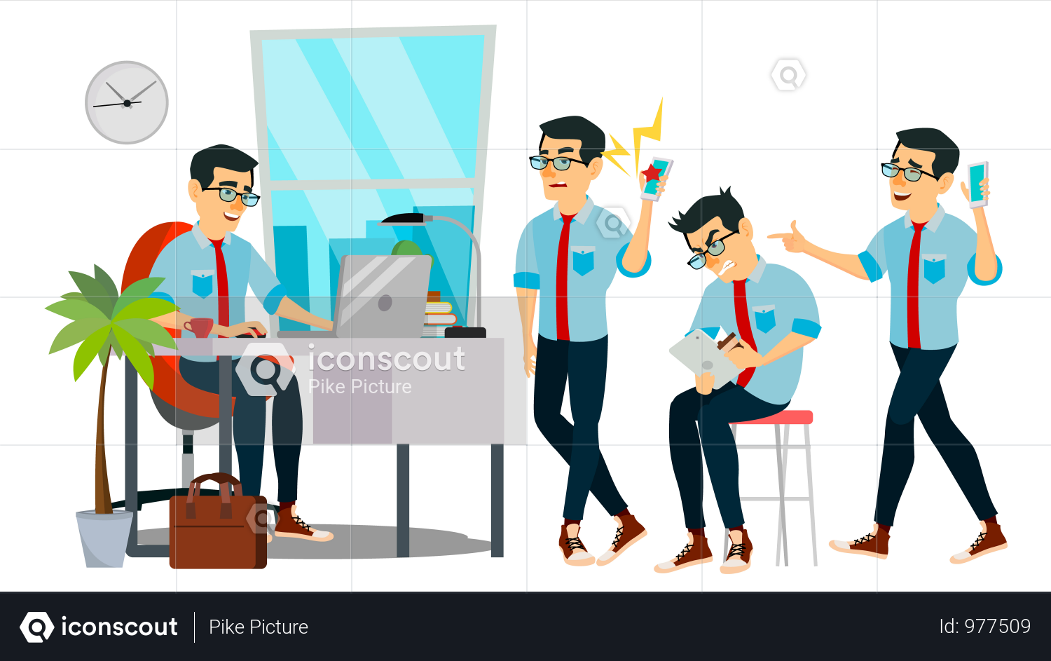 Premium Businessman Character Working In Office Illustration Download In Png Vector Format Character Business Man Illustration