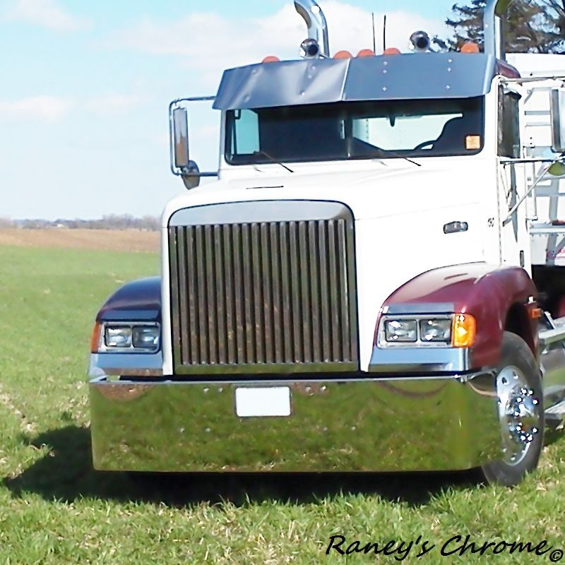 Chrome Bumpers For Fld 120 : Freightliner fld bumper stainless steel set back