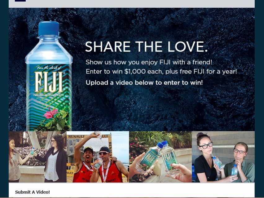 """Enter the FIJI Water """"Share the Love"""" Contest for a chance to win a $1,000 and a year of Home Delivery of FIJI Water!"""