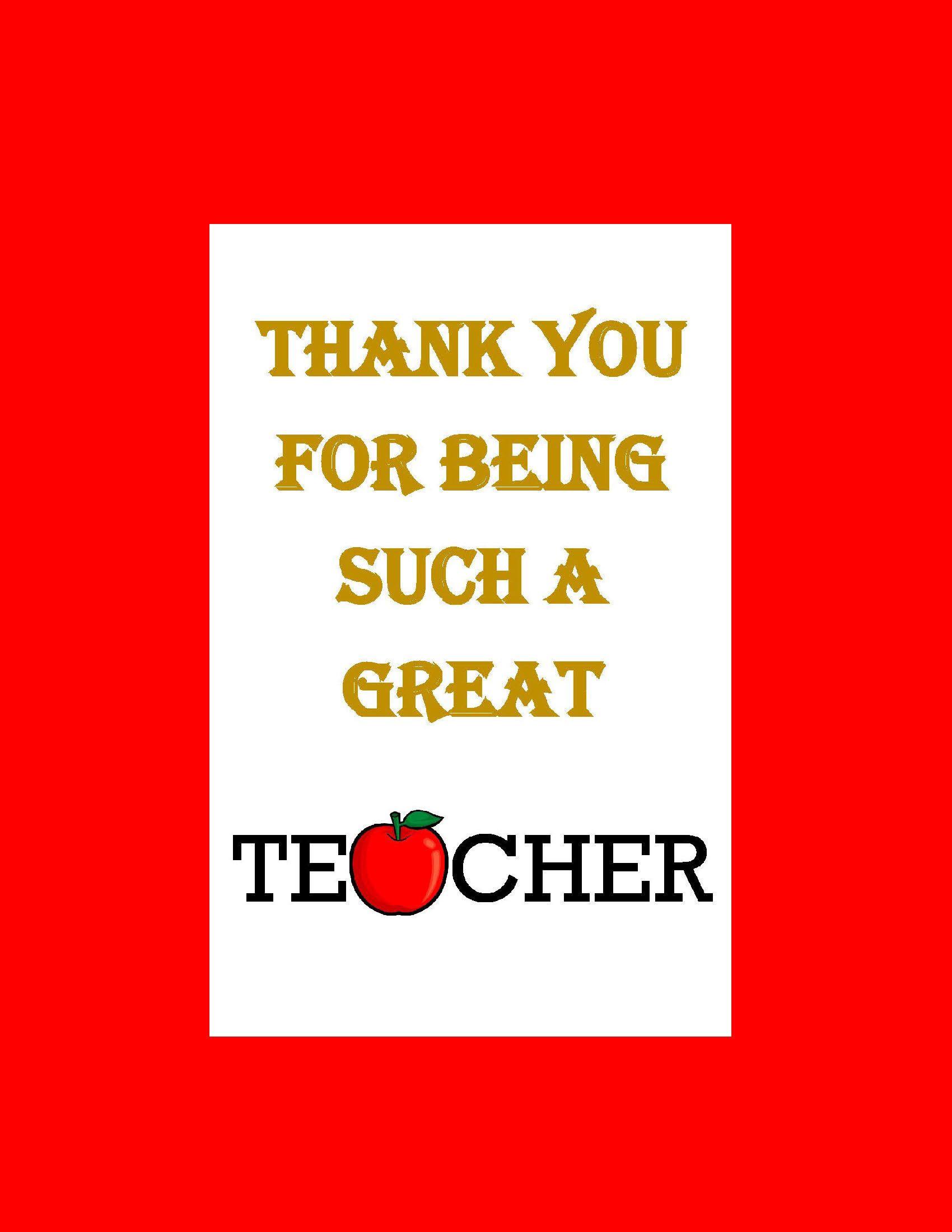 Great Teacher Thank You Card Instant Download Teacher
