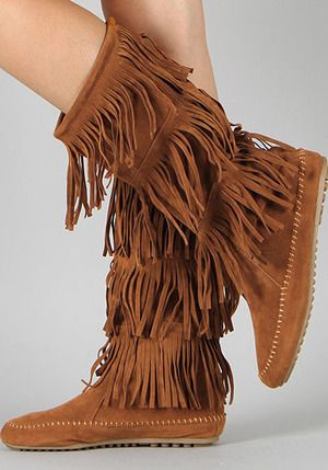 4fe9aa85ab5e5 Details about Fringe Boots Indian Moccasin Vegan Suede 3 Tier Brown ...