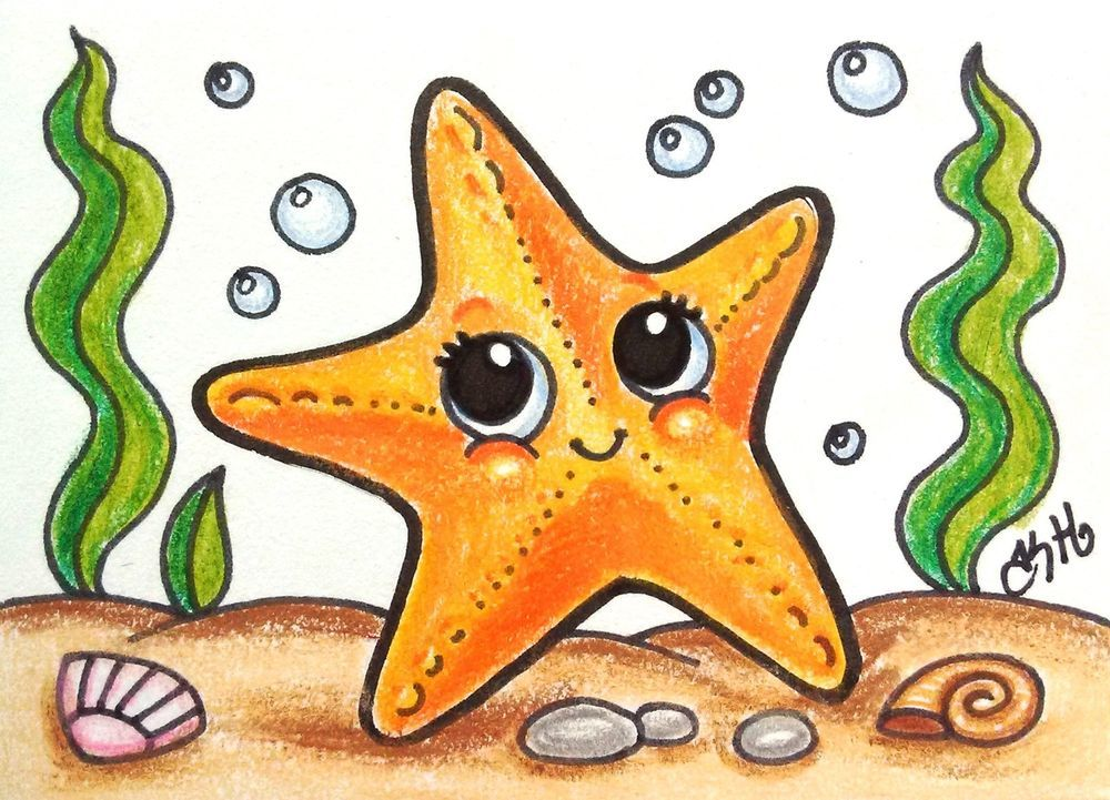 Star Fish Original ACEO TW Jun Cartoon Drawing Water Sea