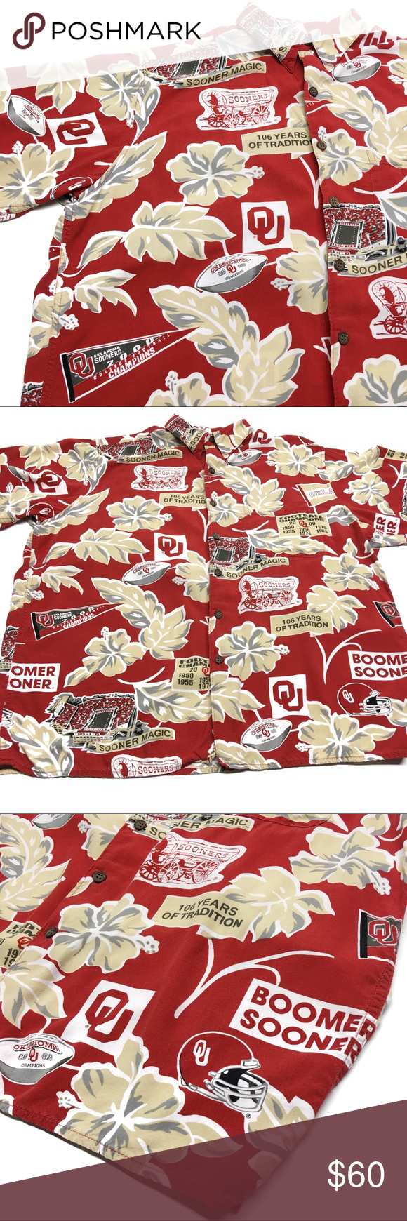 14457046a Reyn Spooner Hawaiian OU Champions D1 Reyn Spooner Hawaiian Traditionals  short sleeve Shirt // University of Oklahoma OU Boomer Sooners football  2000 ...