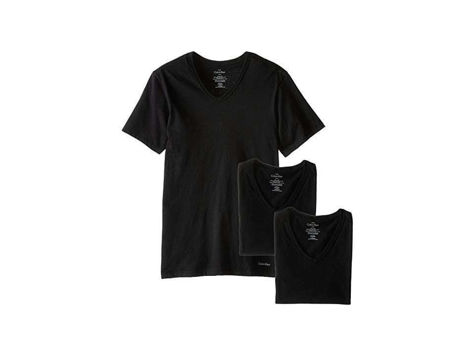 9ca62f450 Calvin Klein Underwear Short Sleeve Cotton Classic Slim Fit V-Neck 3-Pack  (Black) Men's T Shirt. A wardrobe essential from Calvin Klein underwear.  Slim fit.