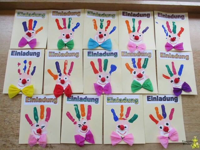 Clown Handabdruck Basteln Pinterest Kindergarten Craft And