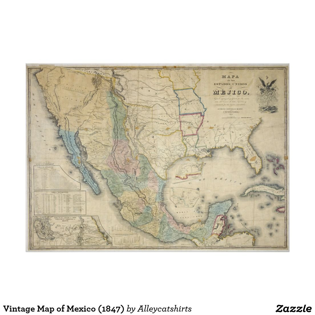 vintage map of mexico 1847 poster vintage map posters