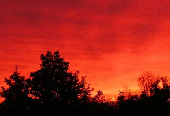 Autumn sky on fire