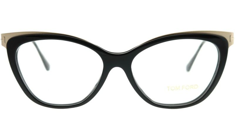 77d800f47058 Tom Ford FT 5374 001 Shiny Black Gold Cat-Eye Metal Eyeglasses in ...