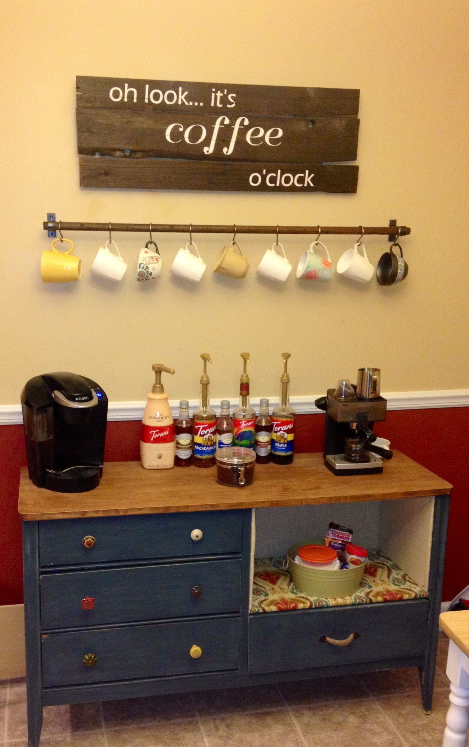 Coffee bar!! All DIY! Reclaimed wood sign (stained and hand painted ...