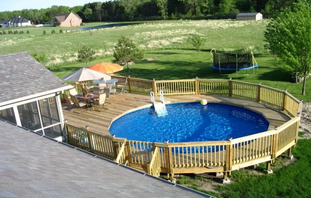 Pools,Enchanting Backyard Design Ideas With Above Ground Pools With Decks: .