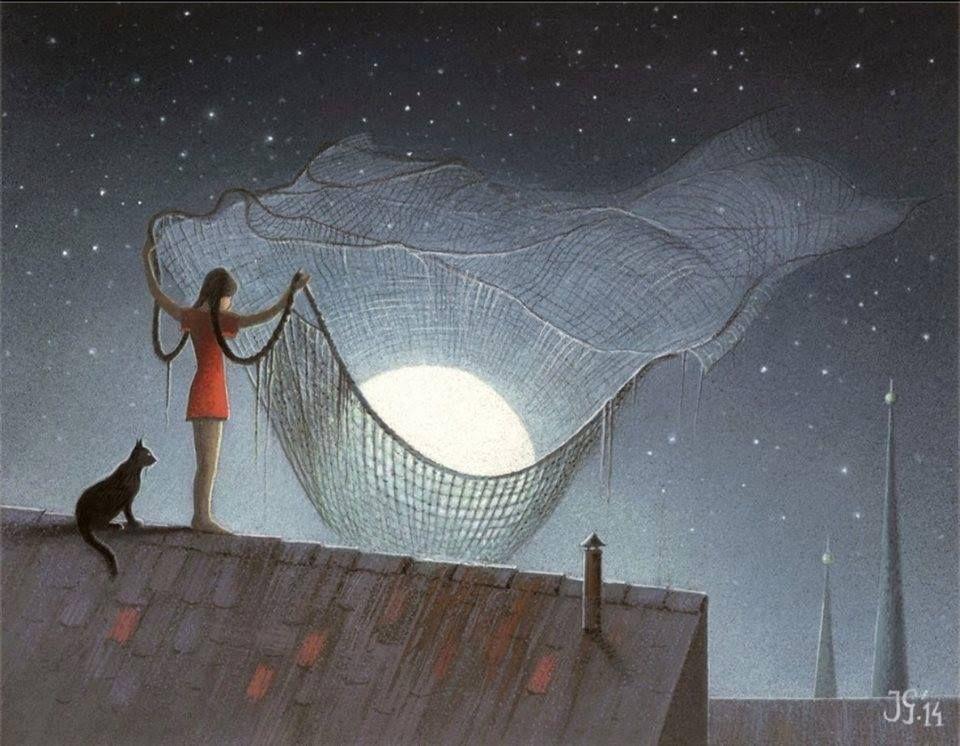 Открытки, картинки женщина с котом на крыше
