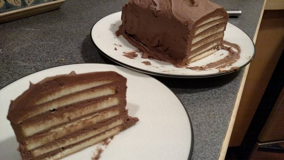Fudge layered pound cake perfect for a hot weather