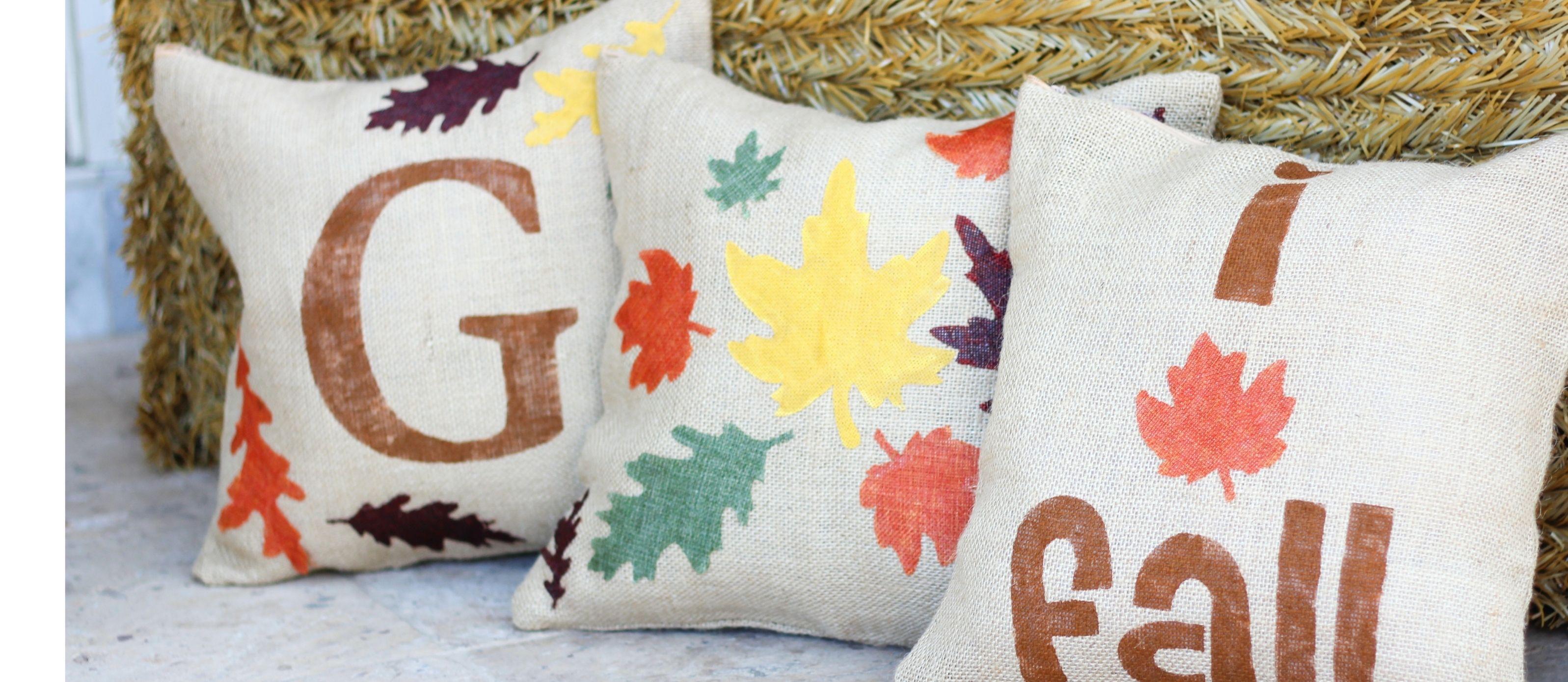 Diy burlap fall leaf pillows fall pinterest fall leaves