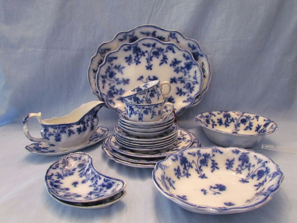 21 Pieces Meakin Flow Blue Colonial Dinnerware & 21 Pieces Meakin Flow Blue Colonial Dinnerware   Old Stone Mansion ...
