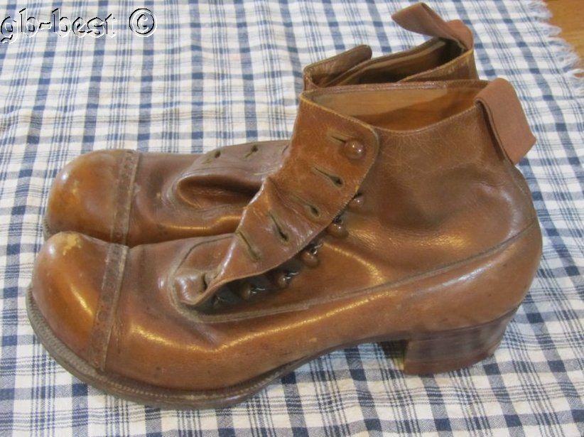 Early Antique Men's Shoes Brown Leather M.B Douglas Custom