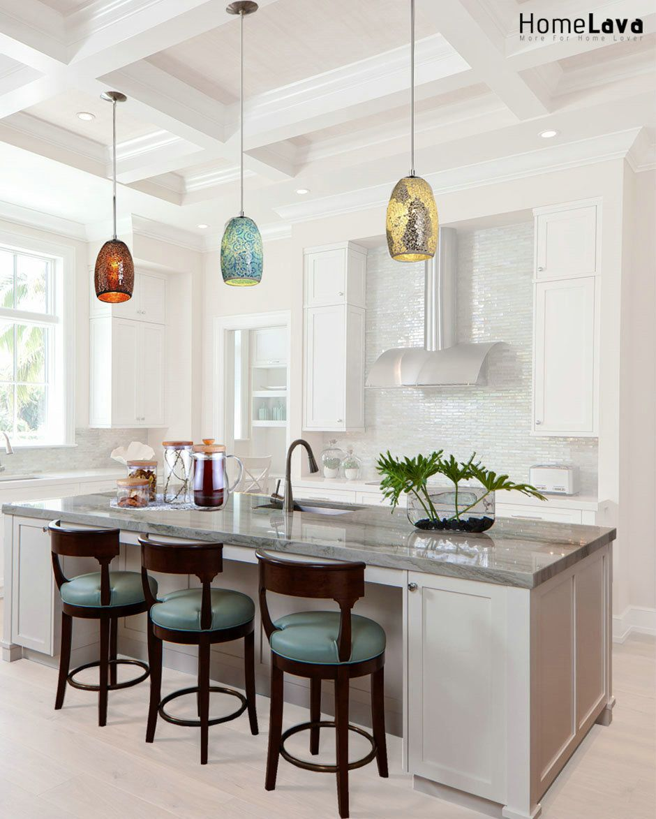 Traditional Kitchen Transitional Island Lighting