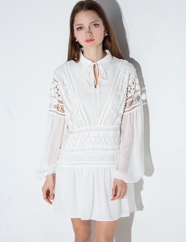 aeb4c308bbdc White Lace Dress - White Balloon Sleeve Dress