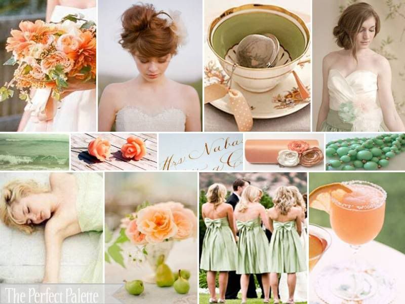 A Palette Of Peach Green Ivory Color Inspiration Wedding