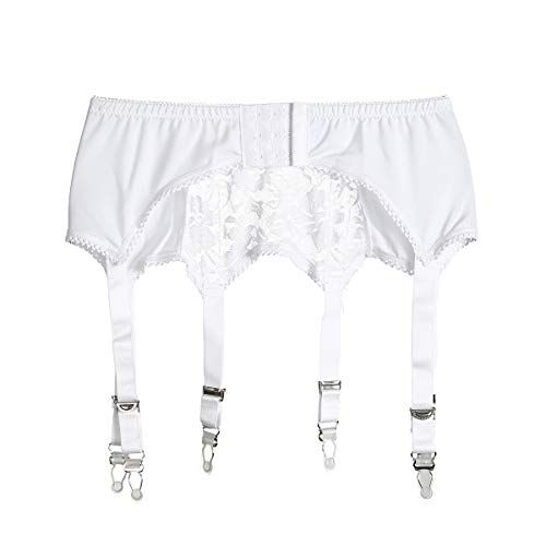 9087a401203 Women s Sexy Lace Garter Belt with 6 Straps Metal Clip Suspender for Thigh  High Stockings