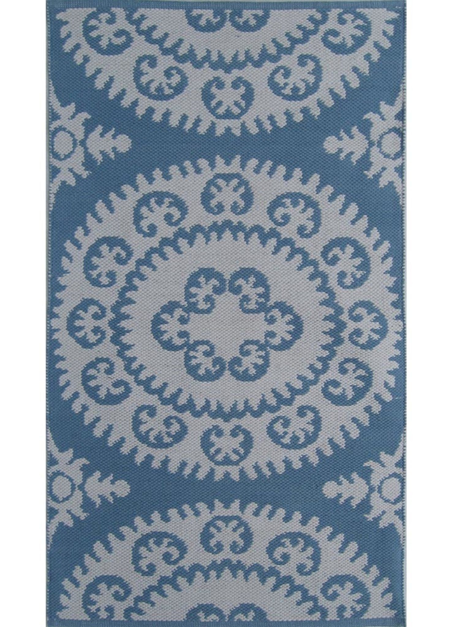 Flat Weave J2 220 Dusk Blue Bright White Cotton Rug Products