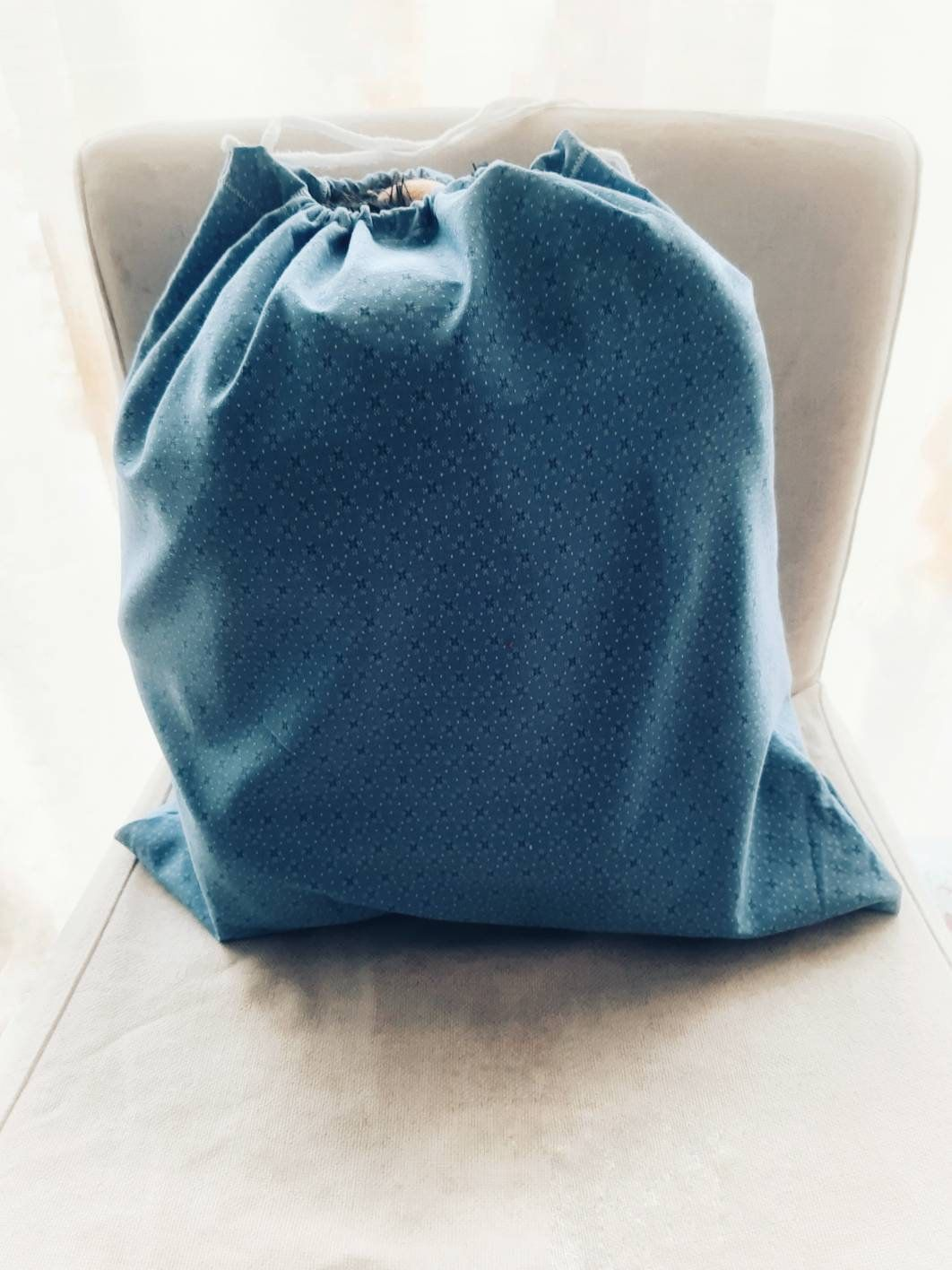 Big Travel Laundry Bags Made From Light Blue Cotton Zero Waste