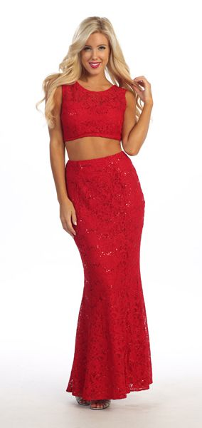 f676eb94810c Red Lace Sequins Jewel Neckline Two-Piece Gown (2 colors S to XL ...