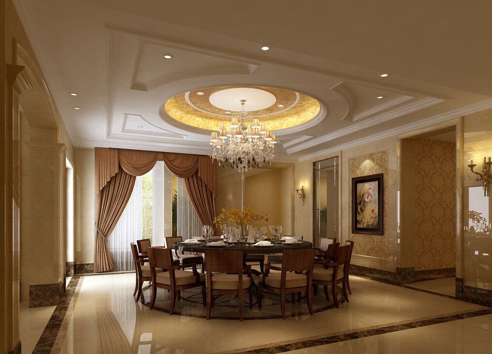 3D Minimalist Suspended Ceiling Of Living Dining Room And False Designs Lighting Ideas