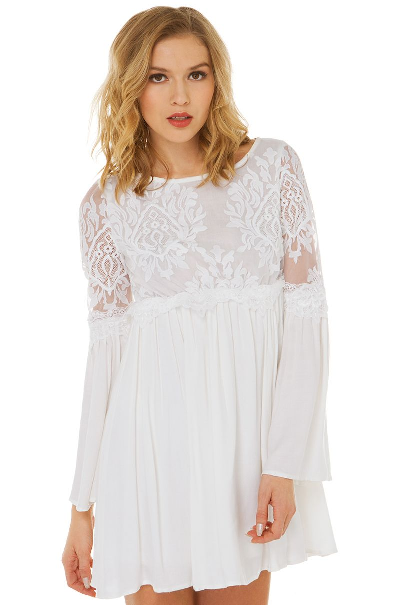 Winter White is IN! Free Spirit Babydoll Dress in White | Long ...