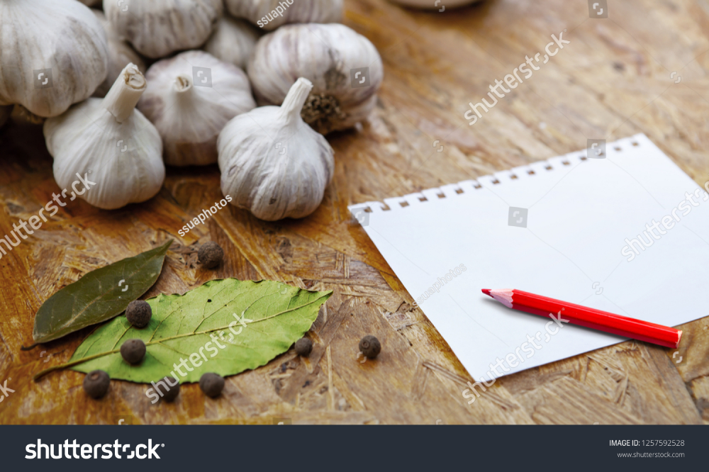 Blank Recipe Note Pensil On Wooden Table Royalty Free Images