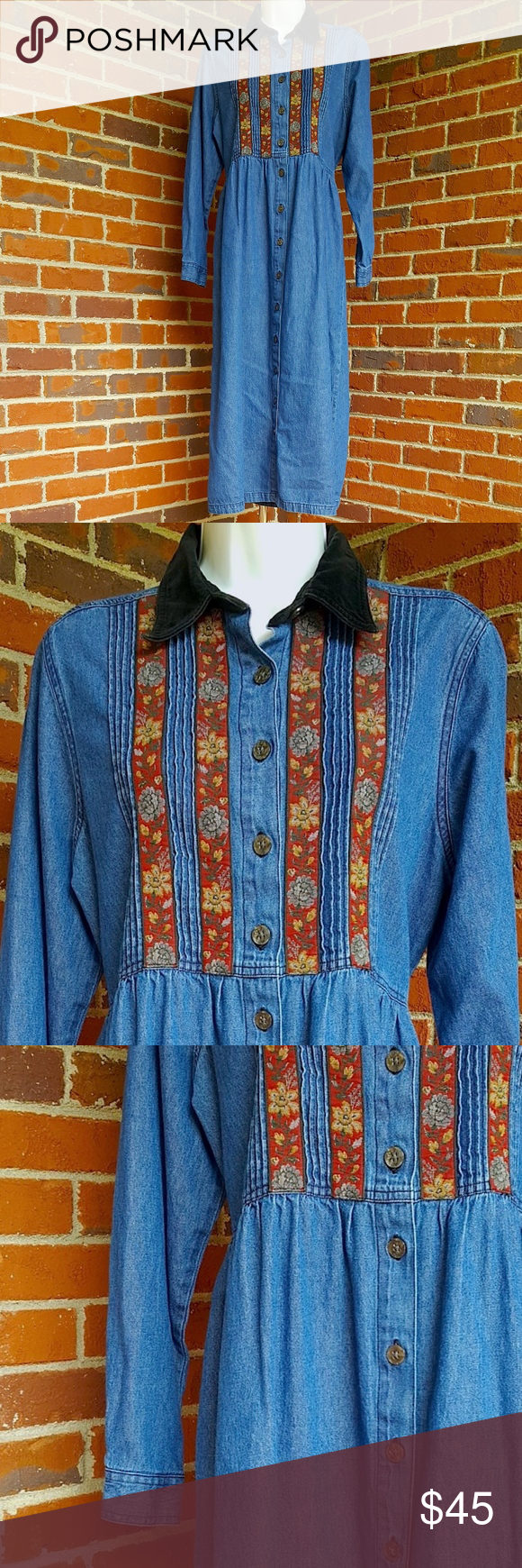 Vintage erika u co denim dress wvelvet u tapestry