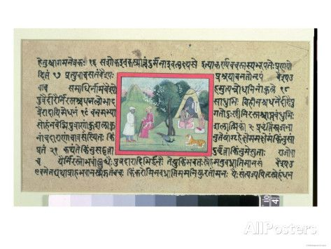 Rajput Chief to a Hermit, 'Madhandeya Purana', Sanskrit, Guler, Pahari School, c.1756 Giclee Print at AllPosters.com