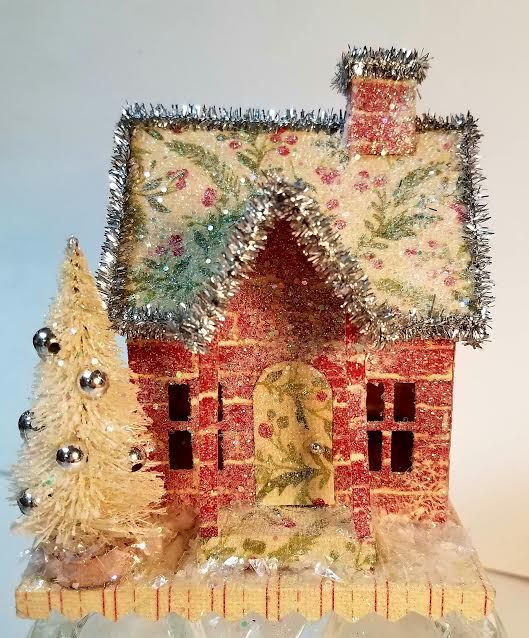 How To Store Christmas Village Houses.Tim Holtz House Die Putz House Glitter House Vintage In