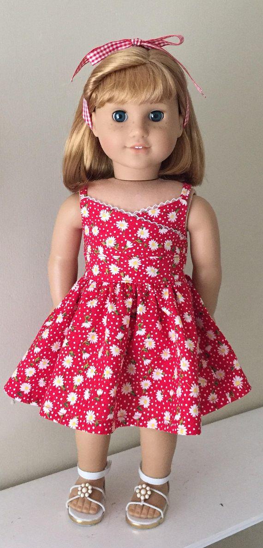 """Debs GREEN /& WHITE Polka Dot LadyBug Summer Dress For 18/"""" American Girl Dolls"""