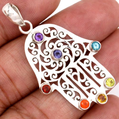 Healing Chakra 925 Sterling Silver Pendant Jewelry N-CP188