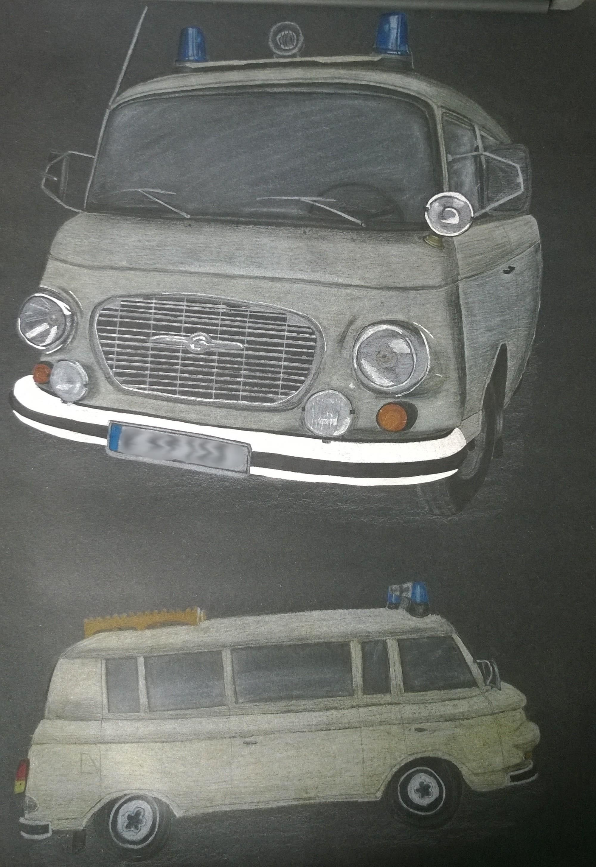 Drawing from a B1000 with colored pencil