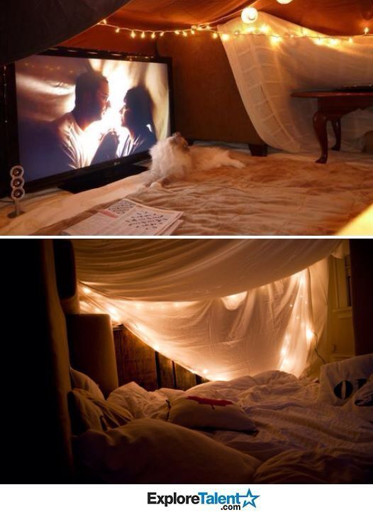 Blanket fort Netflix date night ️ simple and adorable. Love it! Indoor forts, Sleepover